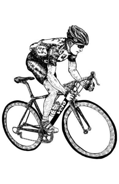 Wall Art - Drawing - Cyclist by Karl Addison