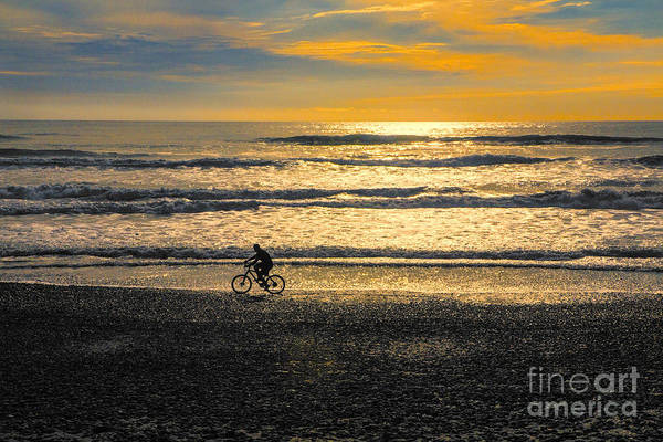 Wall Art - Photograph - Cyclist On Beach South Island by Sheila Smart Fine Art Photography