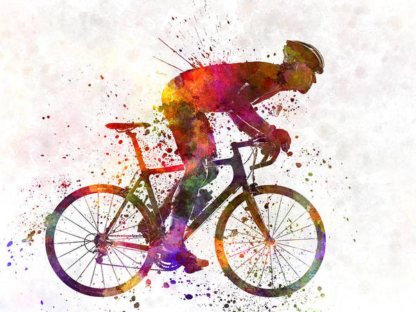 Abstract People Painting - Cyclist Road Bicycle by Pablo Romero
