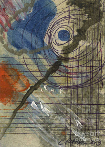 Atc Painting - Cyclone.  Eye Of The Storm by Cathy Peterson