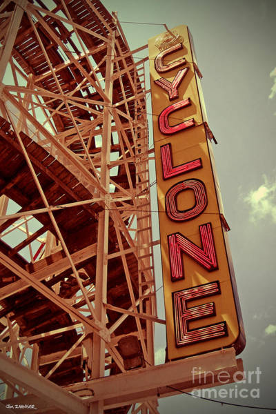 Nostalgia Digital Art - Cyclone Roller Coaster - Coney Island by Jim Zahniser