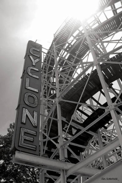 Summer Digital Art - Cyclone Rollercoaster - Coney Island by Jim Zahniser