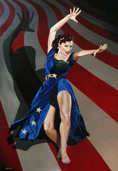 Charisse Painting - Cyd Charisse - Aunt Sam by Jo King