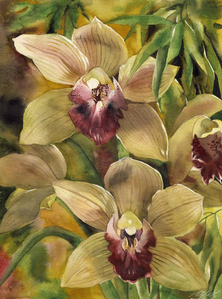 Painting - Cymbidium Orchid With Bamboo by Alfred Ng