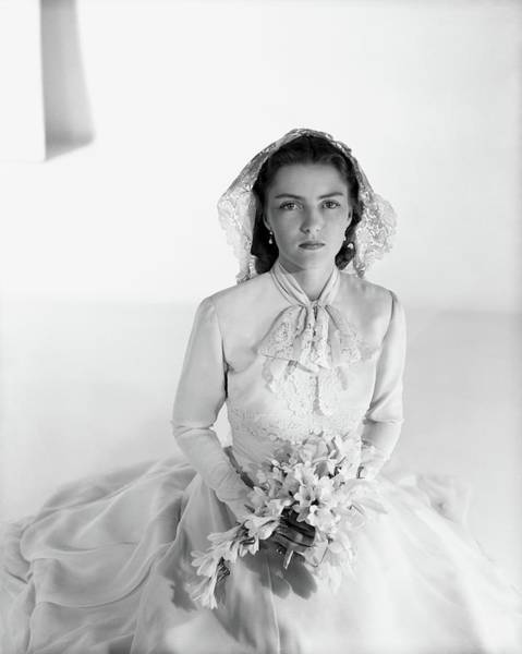 Wedding Bouquet Photograph - Cynthia Boissevain Wearing A Bridal Gown by Horst P. Horst