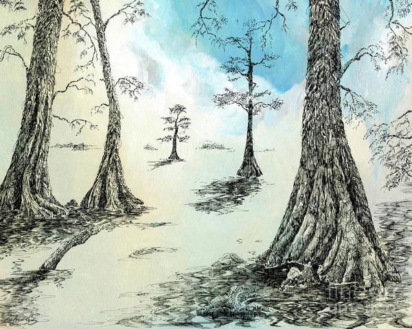 Drawing - Cypress In Ink by Lizi Beard-Ward