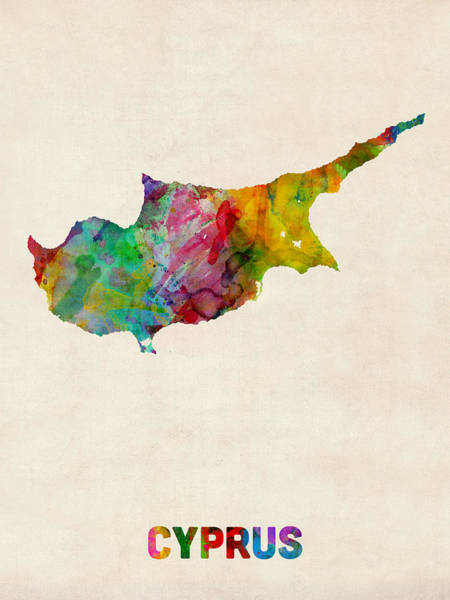 Cyprus Wall Art - Digital Art - Cyprus Watercolor Map by Michael Tompsett