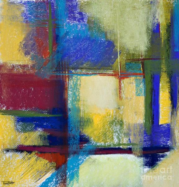 Dark Olive Green Wall Art - Pastel - City Windows by Tracy L Teeter