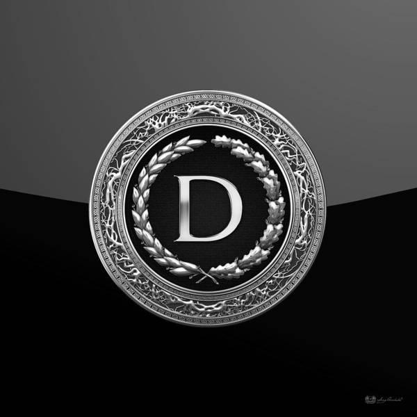 Digital Art - D - Black Silver Vintage Monogram On Modern Glossy Black  by Serge Averbukh
