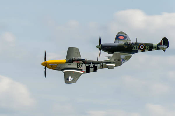 Photograph - D-day Airshow Duo Spitfire And Mustang by Gary Eason