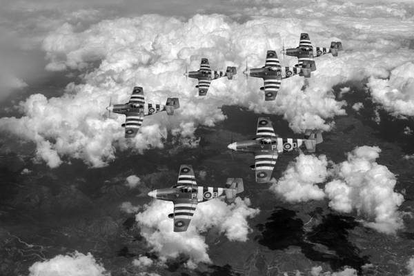 Photograph - D-day Mustangs Black And White Version by Gary Eason