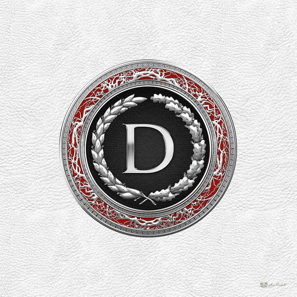 Digital Art - D - Silver Vintage Monogram On White Leather by Serge Averbukh