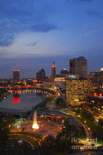 Photograph - D101l Columbus Ohio Night Skyline Photo by Ohio Stock Photography