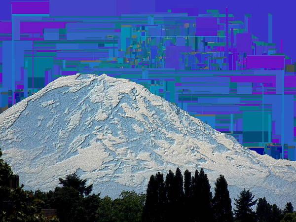 Mounted Digital Art - Da Mountain Cubed 1 by Tim Allen