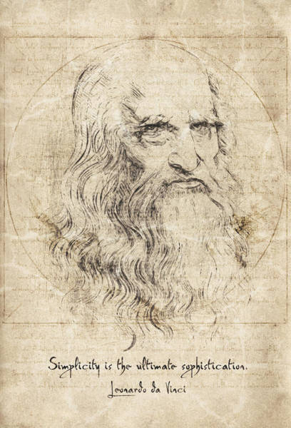 Wall Art - Drawing - Da Vinci Quote by Zapista Zapista