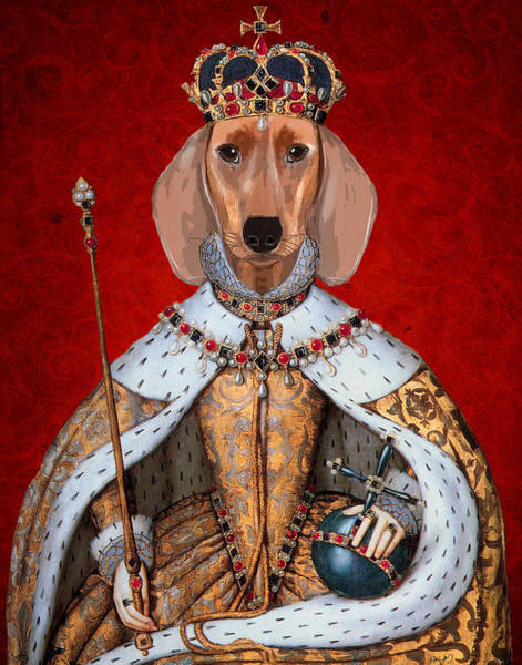 Regal Digital Art - Dachshund Queen by Kelly McLaughlan