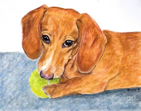 Art Print featuring the painting Dachshund With Tennis Ball by Kate Sumners