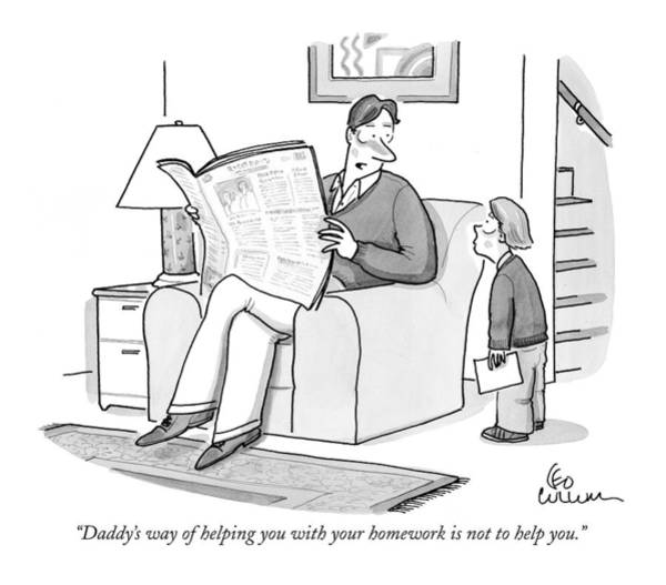 Newspaper Drawing - Daddy's Way Of Helping You With Your Homework by Leo Cullum