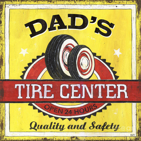 Man Cave Wall Art - Painting - Dad's Tire Center by Debbie DeWitt