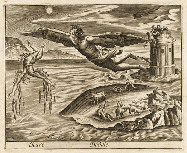 Wall Art - Drawing - Daedalus And His Son Icarus  Escape by Mary Evans Picture Library