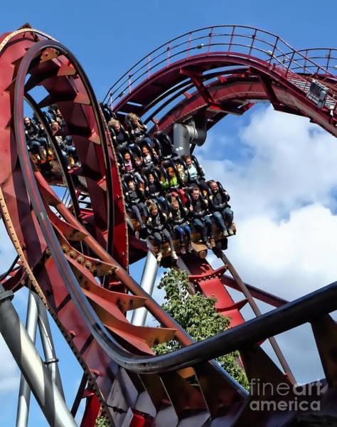 Photograph - Daemonen - The Demon Rollercoaster - Tivoli Gardens - Copenhagen by Julia Springer