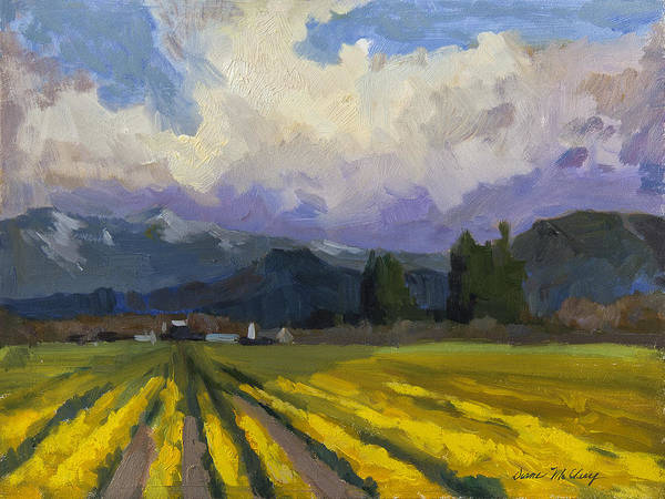 Sierra Nevada Painting - Daffodils And Clouds by Diane McClary
