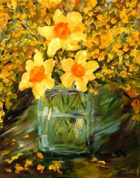 Forsythia Painting - Daffodils And Forsythia by Barbara Pirkle