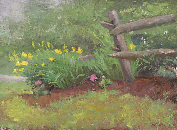 Fencepost Painting - Daffodils By The Roadside by Walter Lynn Mosley