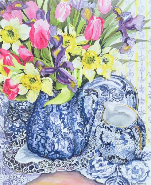 Doily Wall Art - Painting - Daffodils Tulips And Irises With Blue Antique Pots  by Joan Thewsey