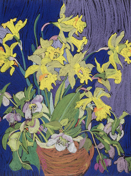 Colourful Drawing - Daffodils With Jug by Frances Treanor