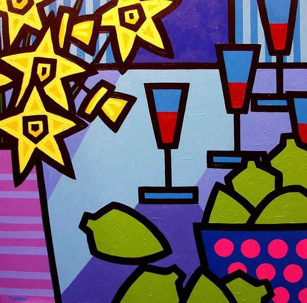 Wall Art - Painting - Daffs Wine And Limes by John  Nolan