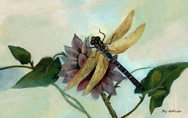 Painting - Dahlia With Dragonfly Resting by RC DeWinter