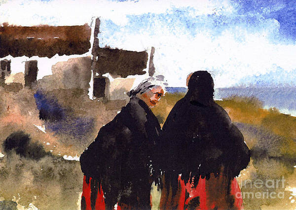 Painting - Daily Chat On Aran by Val Byrne