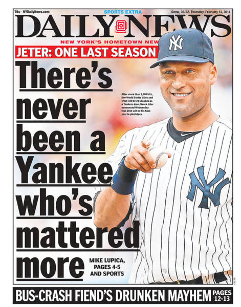 American Culture Photograph - Daily News Front Page Derek Jeter by New York Daily News