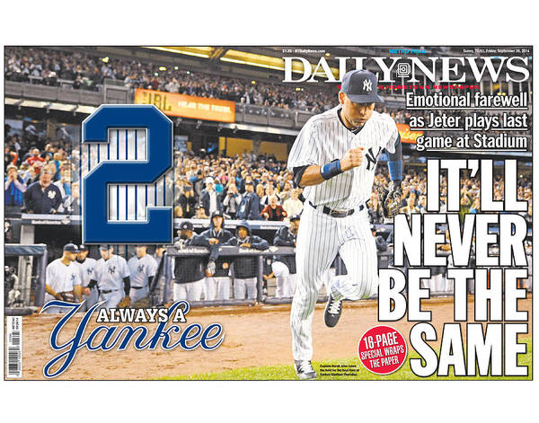 The Bronx Photograph - Daily News Front Page Wrap Derek Jeter by New York Daily News