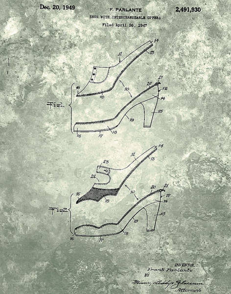Painting - Shoe With Interlace Upper Patent 1949 by Celestial Images