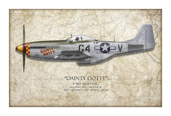 Tinder Wall Art - Painting - Dainty Dotty P-51d Mustang - Map Background by Craig Tinder