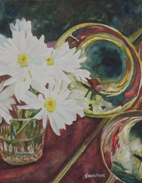 Trombone Wall Art - Painting - Daisies Bold As Brass by Jenny Armitage