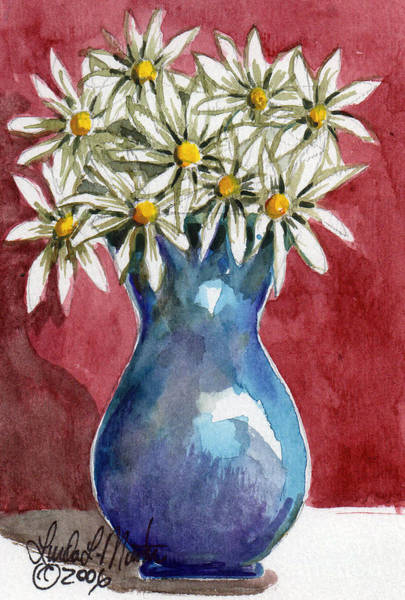 Painting - Daisies In Blue Vase by Linda L Martin