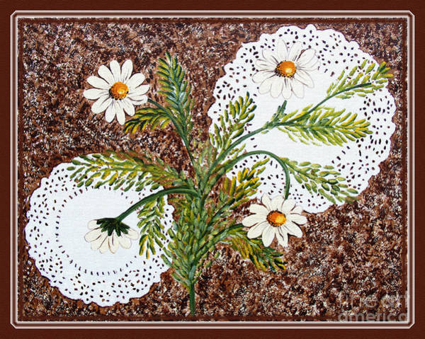 Doily Painting - Daisies On Doilies by Barbara Griffin