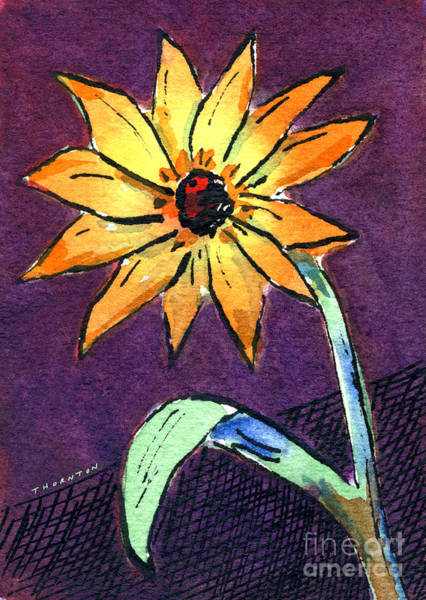 Painting - Daisy On Dark Background by Diane Thornton