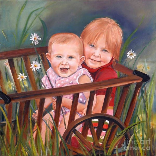 Happy Little Trees Painting - Daisy - Portrait - Girls In Wagon by Jan Dappen