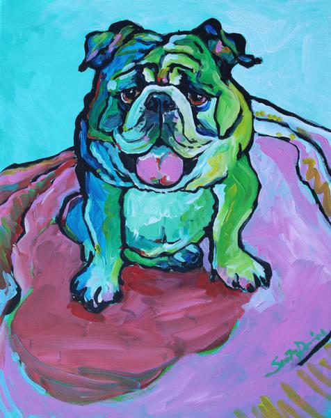 English Bulldog Painting - Daisy by Susan Davies