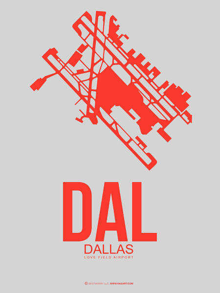Miami Digital Art - Dal Dallas Airport Poster 1 by Naxart Studio