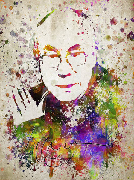 Buddhism Digital Art - Dalai Lama In Color by Aged Pixel