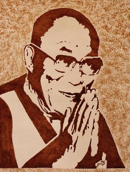 Guru Painting - Dalai Lama Original Coffee Painting by Georgeta Blanaru
