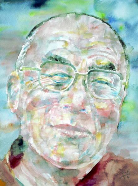Dalai Lama Wall Art - Painting - Dalai Lama - Watercolor Portrait by Fabrizio Cassetta