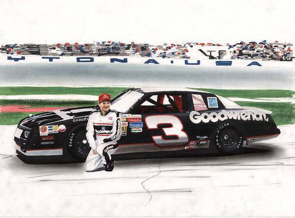 Chevrolet Drawing - Dale Earnhardt Goodwrench Monte Carlo by Paul Kuras