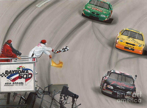 Flag Drawing - Dale Earnhardt Wins Daytona 500-checkered Flag by Paul Kuras