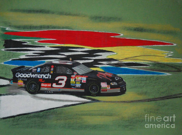 Chevrolet Drawing - Dale Earnhardt Wins Daytona 500-infield Doughnuts by Paul Kuras